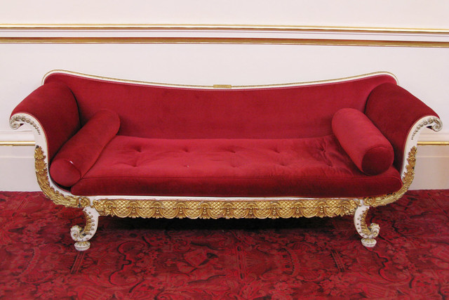 One of a pair of  c19th-century sofas located in the Crush Room © Royal Opera House