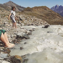 We walked up the side of the mountain for an hour and a half on a very hot day. This river is glacial melt. Cooling.