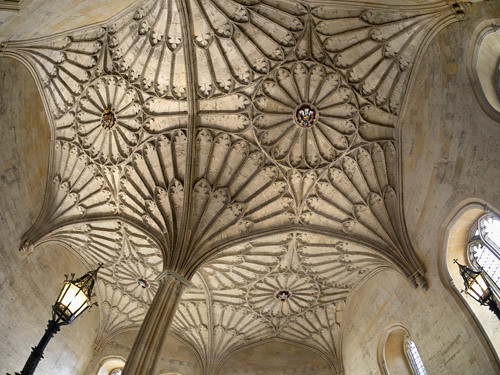 Fisheye view of a vaulted ceiling in Christ Church College, Oxford 4