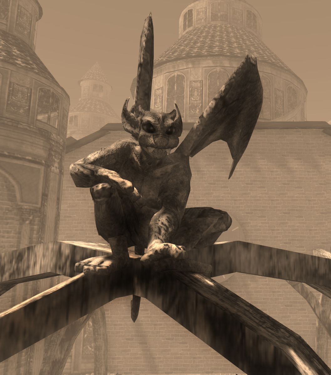 Avatar Bizarre Gargoyle Avatar Posing on Cathedral
