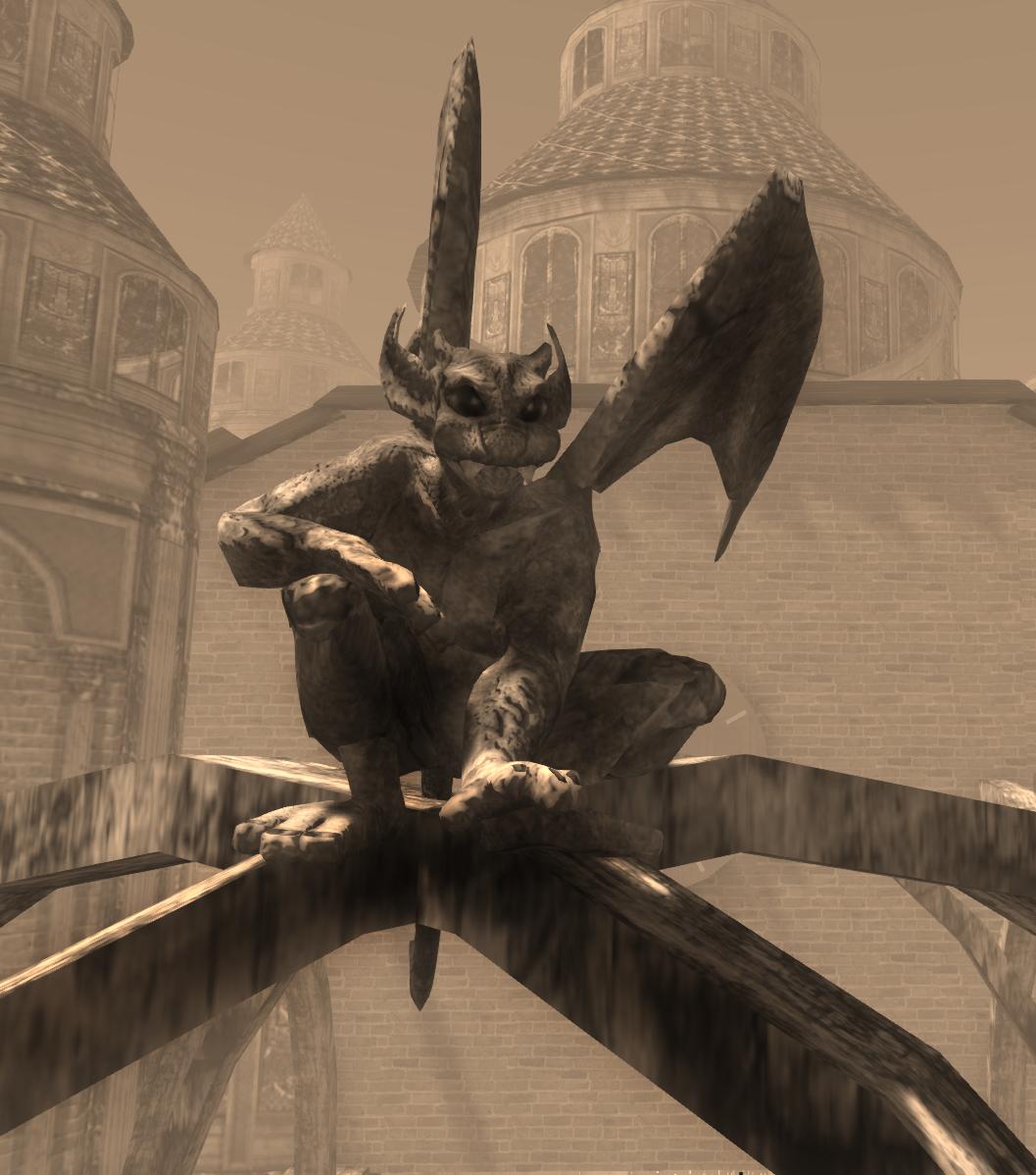 Avatar Bizarre Gargoyle Avatar Posing on Cathedral
