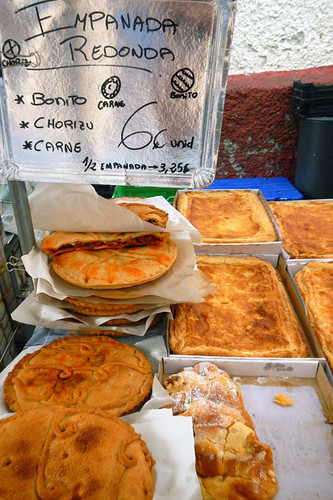 Empanadas for sale in the Ribadesella market, Spain