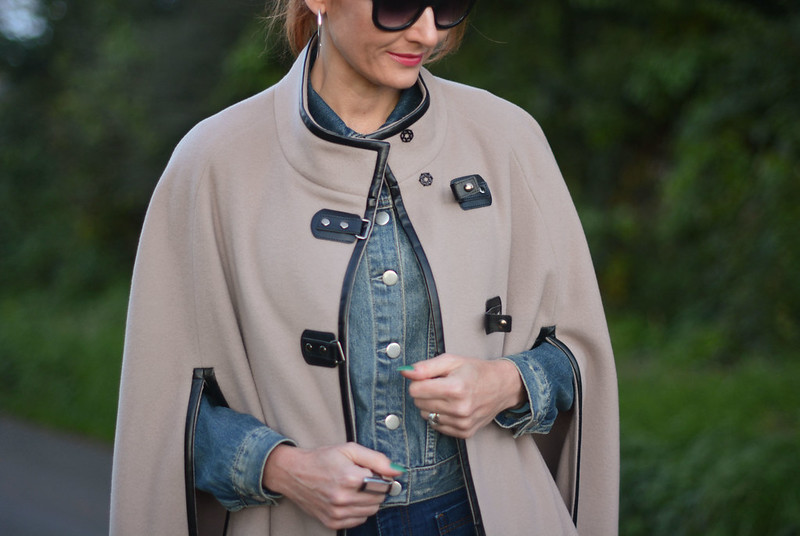 Taupe wool cape with denim jacket