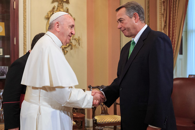 Speaker John Boehner welcomes Pope Francis of the Holy See to the United States Capitol.