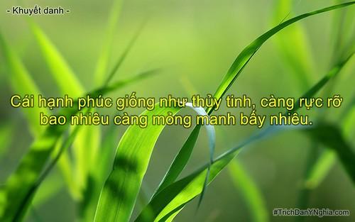 Cái hạnh phúc giống như thủy tinh, càng rực rỡ bao nhiêu càng mỏng manh bấy