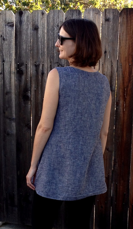 gathered tunic back crop