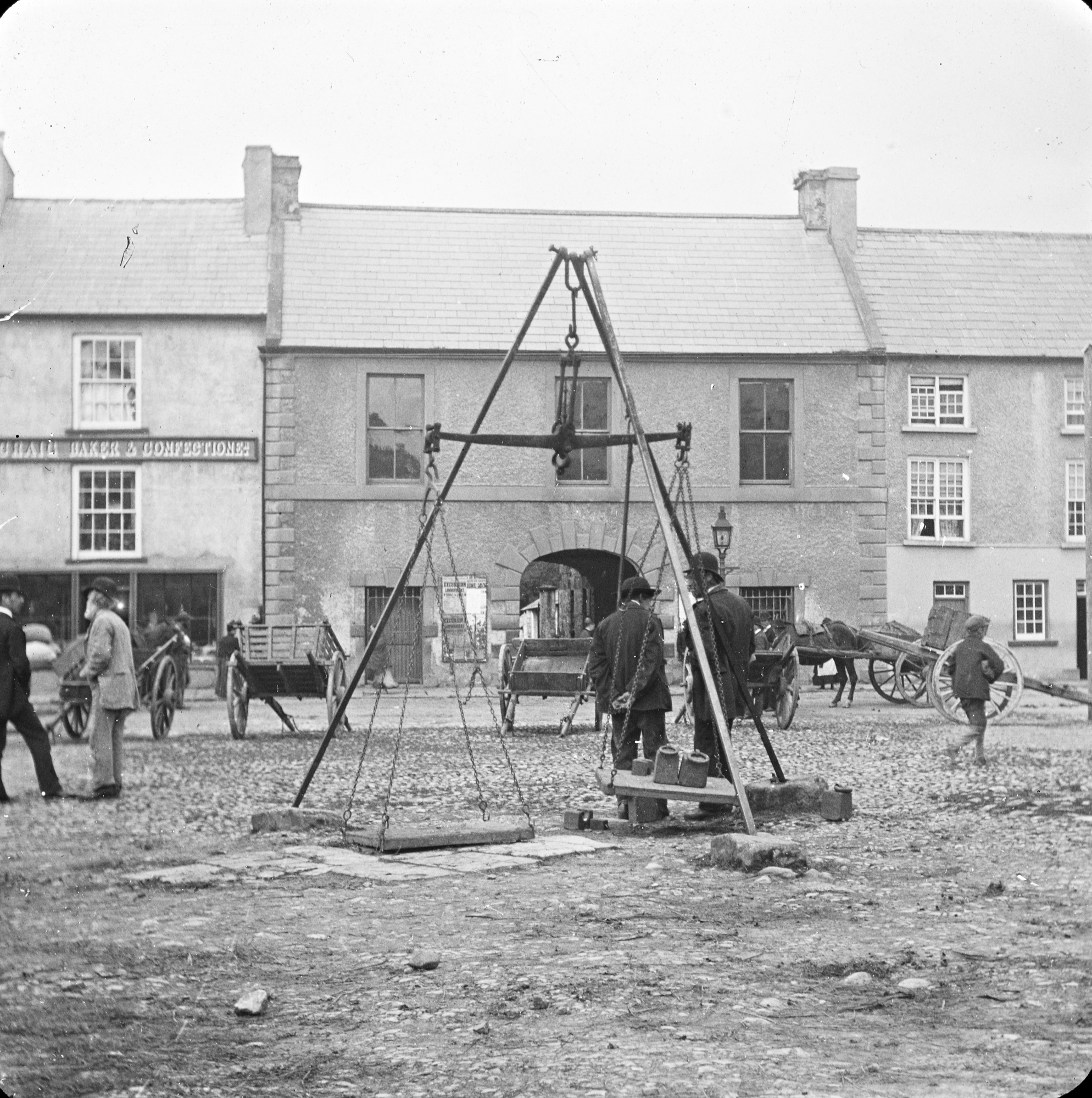 Old photo of Market Square, Donegal Town