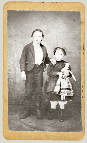 cdv children and doll