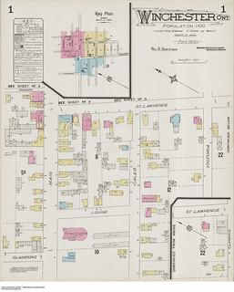 Insurance plan, sheet 1, Winchester, Ontario, May 1900 / Plan d'assurance-incendie, feuille 1, Winchester (Ontario), mai 1900