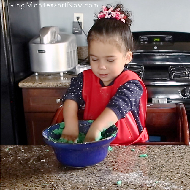 Kneading the Quick and Easy Playdough at 2 Years