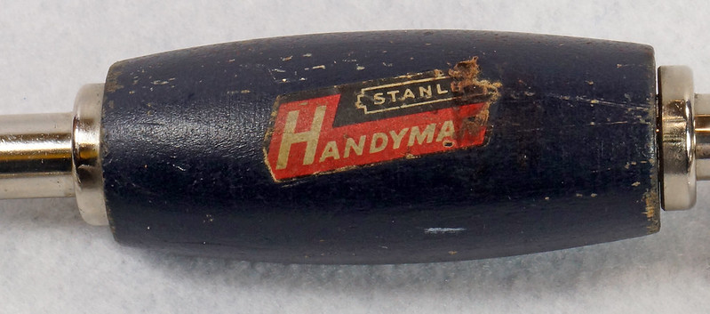 RD15321 Vintage Stanley Handyman Ratchet Brace Bit Hand Drill H1253 Dark Blue Wood Handles DSC09147