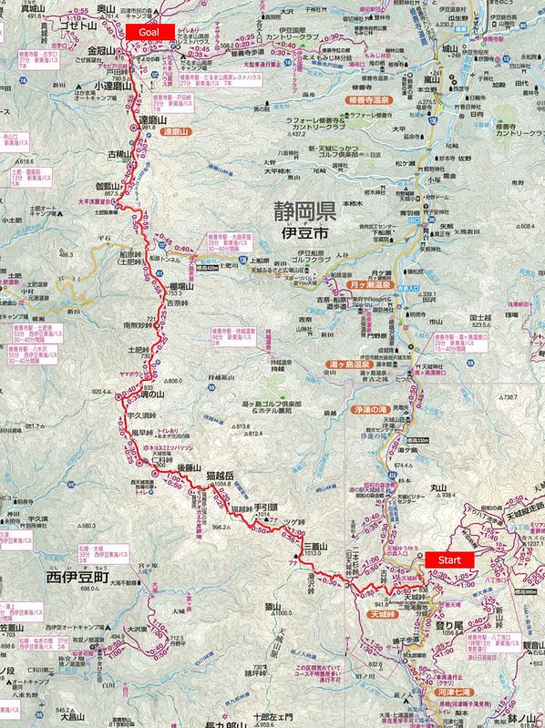 伊豆稜線トレイル地図
