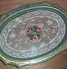 Vintage Art Deco Vanity Tray w/ Embroidered Lace Under Glass,