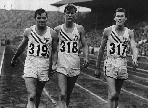 An American sweep of the medals in the 1948 London Olympic Games 110 meter high hurdles final