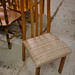 Dark wood kitchen chair - fabric seat