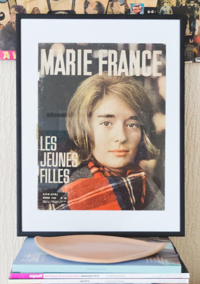 framed vintage marie france cover