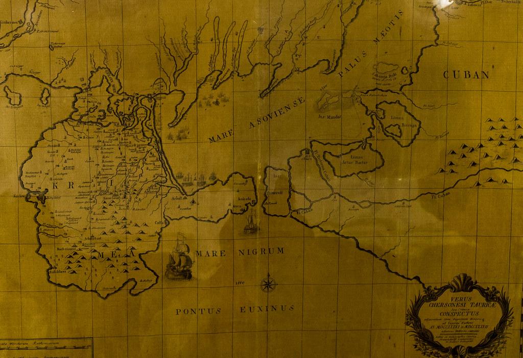 Карта Крыма на шелке ancient maps, russian geographical society, древние карты, рго, репин, русское географическое общество