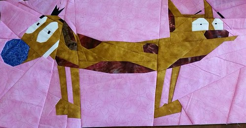Catdog 10x20 paper pieced sewn by Jaylene Weber