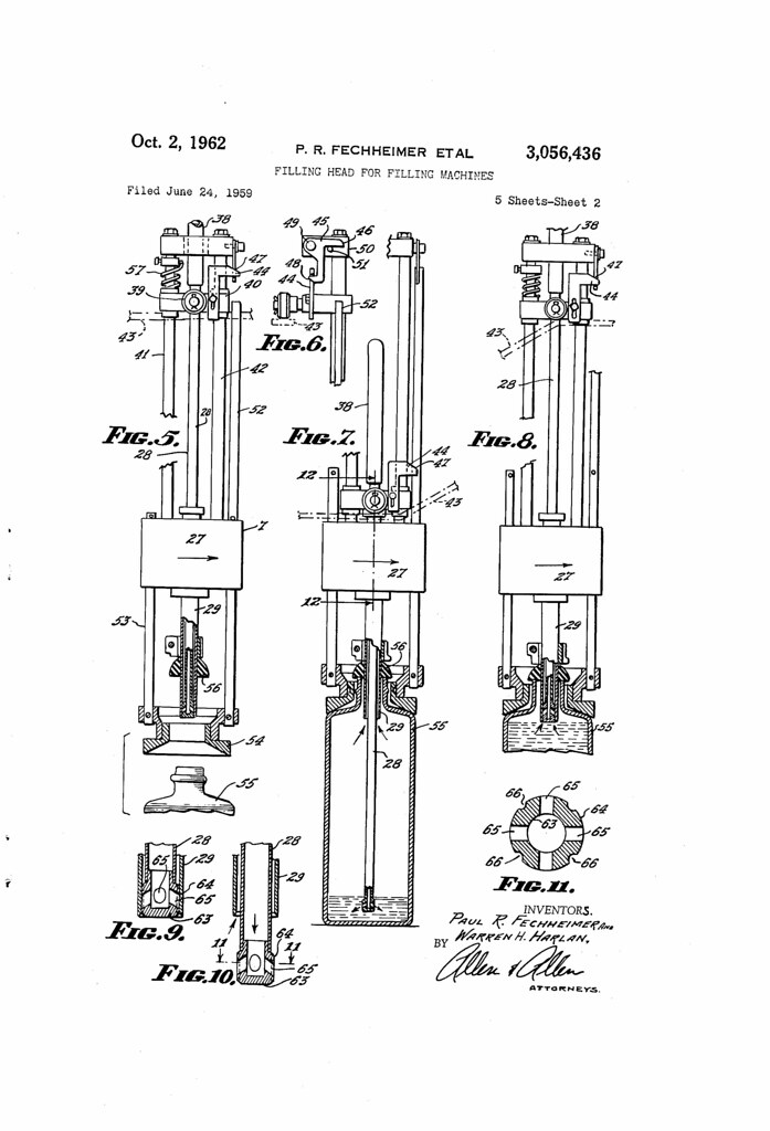 patent no  3056436a  filling head for filling machines