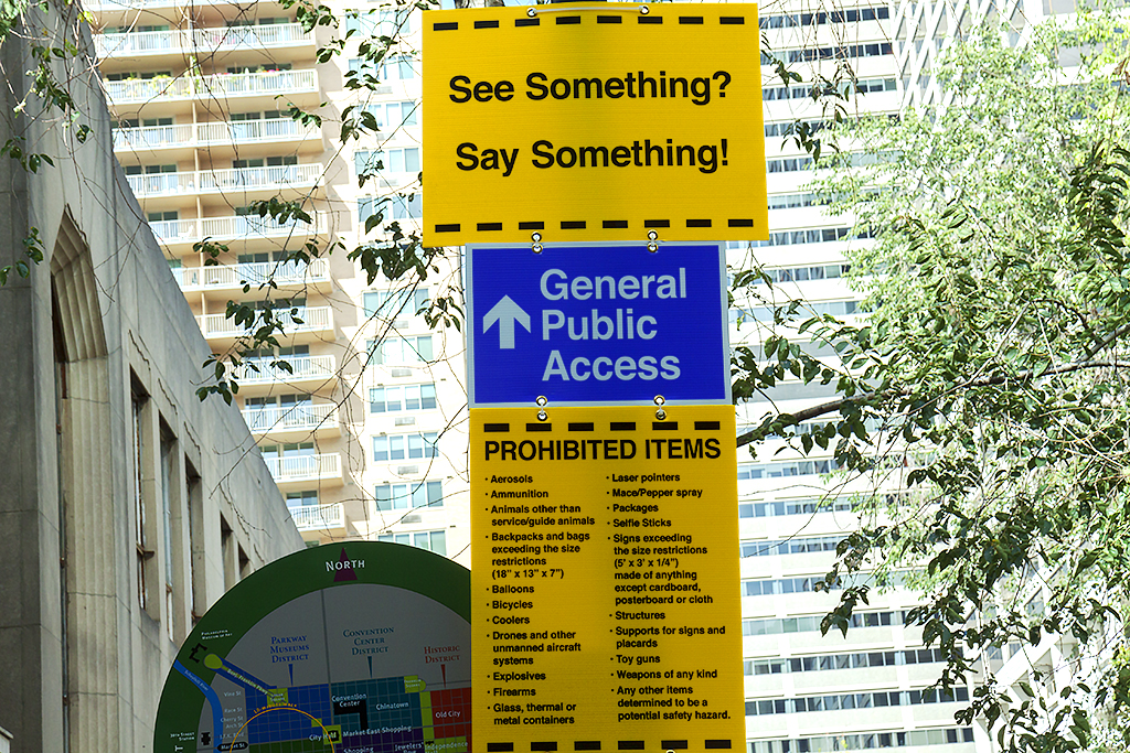 See Something Say Something sign for Pope Francis' visit--Center City 3
