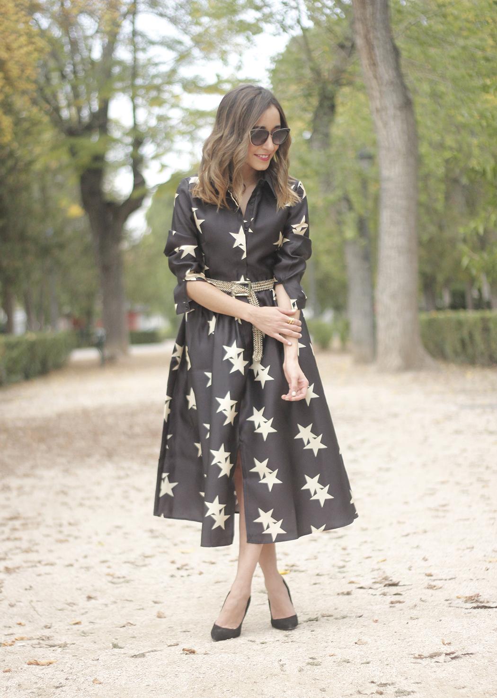 Star Print Dress sunnies heels outfit11