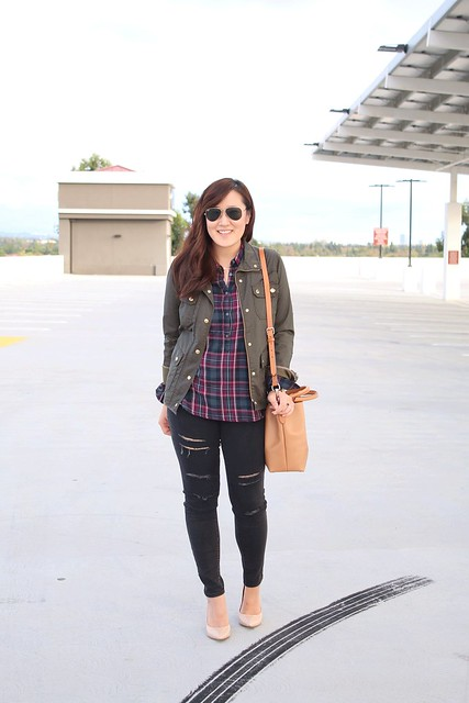 simplyxclassic, plaid, gap, jcrew, dooney and bourke, bucket bag, distressed denim, how to wear plaid, fashion style blogger, mommy blog, fall fashion, california fall, orange county, korean, asian blogger