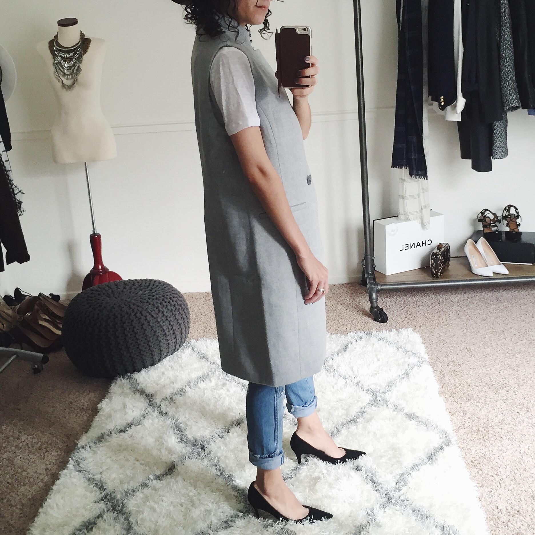 petite long vest