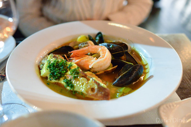 Bouillabaisse provençal fish stew, mussels, clams, fennel, potato, leek, rouille