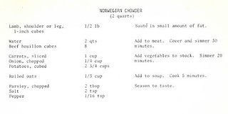 Norwegian Chowder Recipe from local cookbook | by The Urbana Free Library Digital Collections