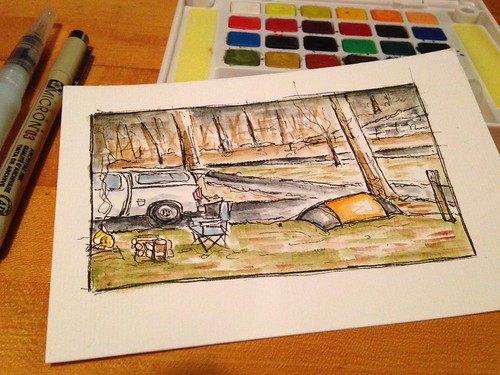 in-camp sketch, finished when home