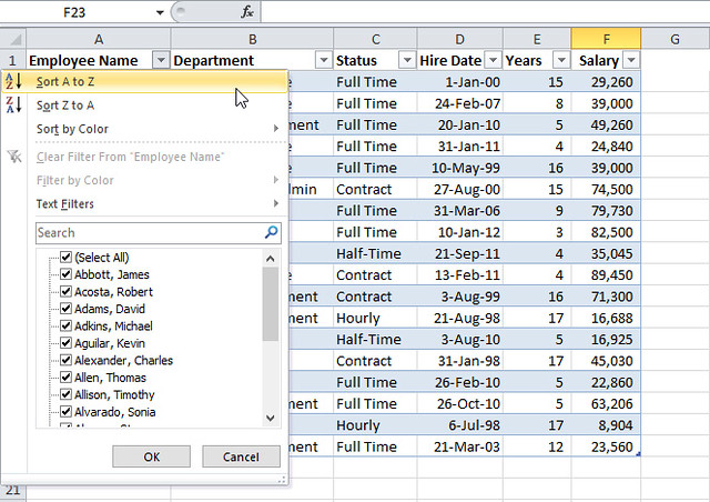 Excel Table- Sort