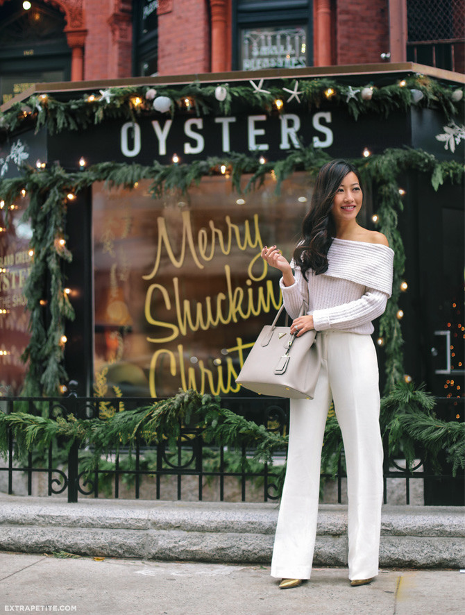 WHBM petites winter white holiday outfit