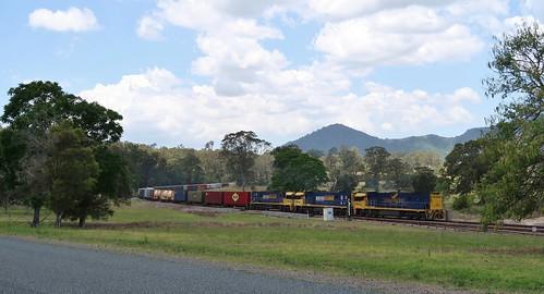 NR27+NR69+NR44 bring train 6BA6 through Mount George, NSW. (1)