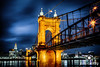Roebling Suspension Bridge and Cincinnati at night