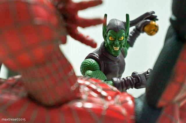 Green goblin over spider-man