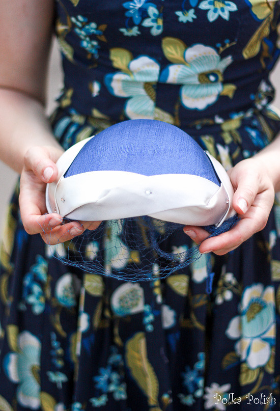 1950s close fitting hat in blue and silvery white with rhinestones and a veil