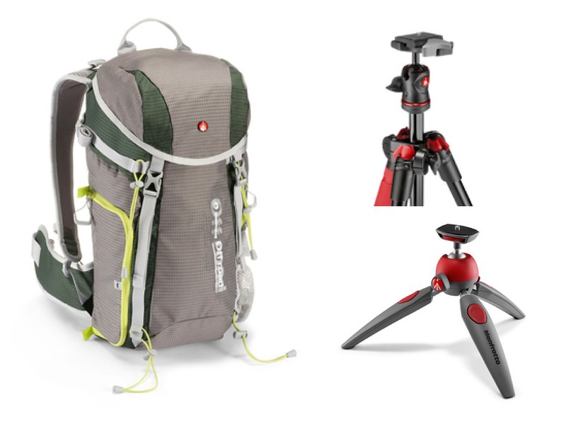 Clockwise: Manfrotto Off Road backpack; BeFree Tripod; Pixi