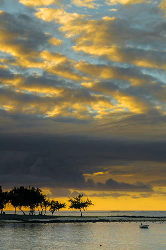 trees sea seascape clouds sunrise landscape boat mauritius cloudscape