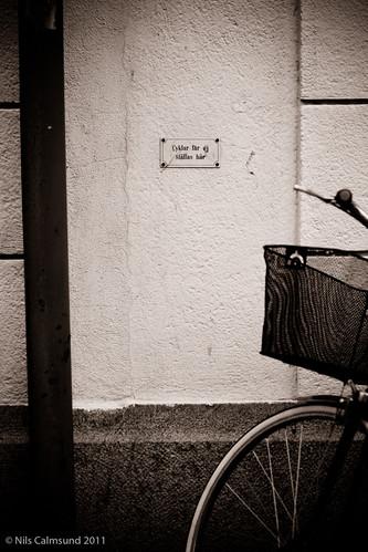 Cyklar får ej ställas här