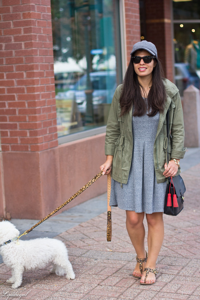 grey sweatshirt dress, field jacket, wool ball cap, dog walking-3.jpg