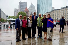 U.S. Secretary of State John Kerry and his Australian counterpart - and avid runner - Foreign Minister Julie Bishop pose with 35-time Boston Marathon runner Tom Licciardello, 39-time Tufts 10K runner Lyn Licciardello, Boston Athletic Association President Joanne Flaminio, four-time Marathon winner Bill Rodgers, and Race Director Dave McGillivray after the group led them on a tour of the Marathon finish line on October 13, 2015, before the ministers' annual AUSMIN diplomatic and defense meetings at the Boston Public Library in Boston, Massachusetts. [State Department photo/ Public Domain]