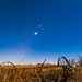 Planet Trio over Old Farm Plough (Portrait) by Amazing Sky Photography