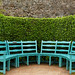 Blue chairs in Kylemore Abbey Victorian walled garden by Barbro_Uppsala