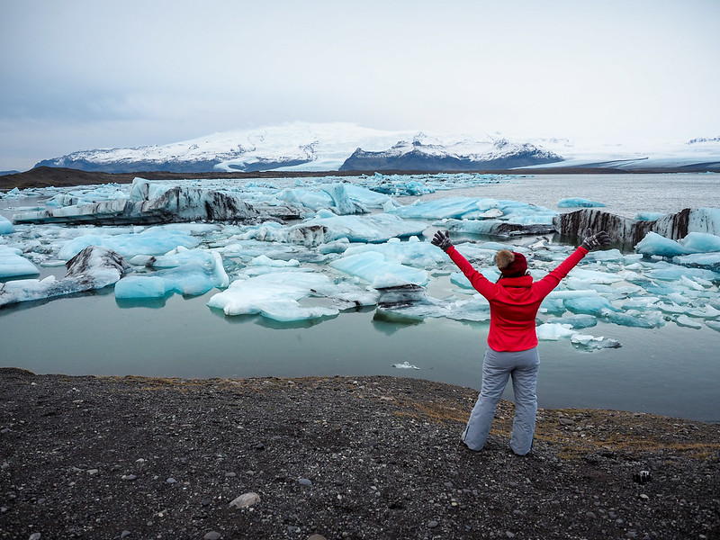 Amanda at Jökulsárlón in Iceland