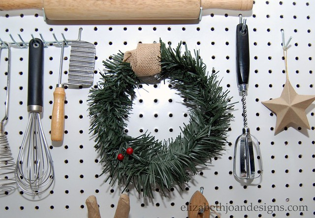 Pegboard wreath decor