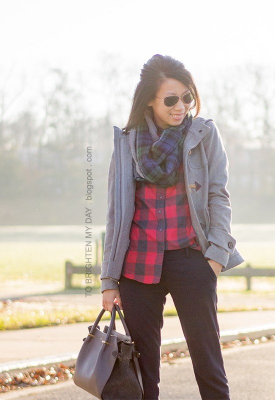 gray toggle coat, herringbone/plaid infinity scarf, red buffalo check shirt, navy pants