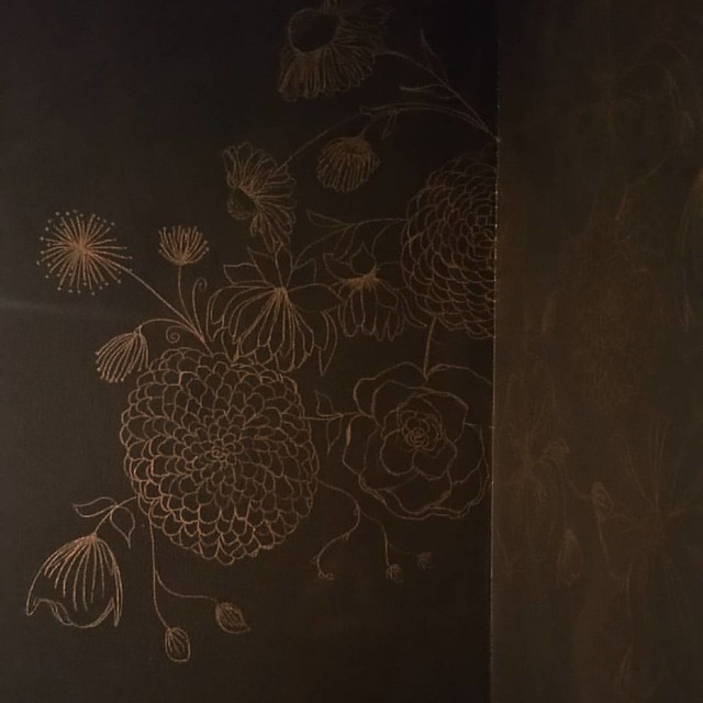 This nook in our dining room soon-to-be-sitting-room because it is too small for our family is so much fun. I painted it a deep grey today and with gold sharpies (swoon) am drawing a giant bouquet on the wall. And yes, I painted this corner dark because i
