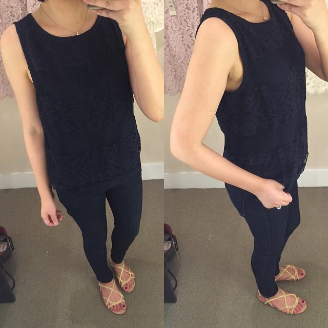 LOFT Lace Striped Top, size SP