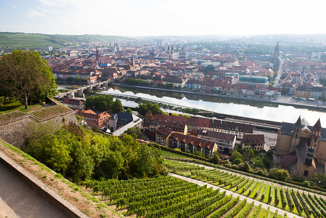 Würzburg, Franconia region of Bavaria, Germany. View from Marienberg Fortress.