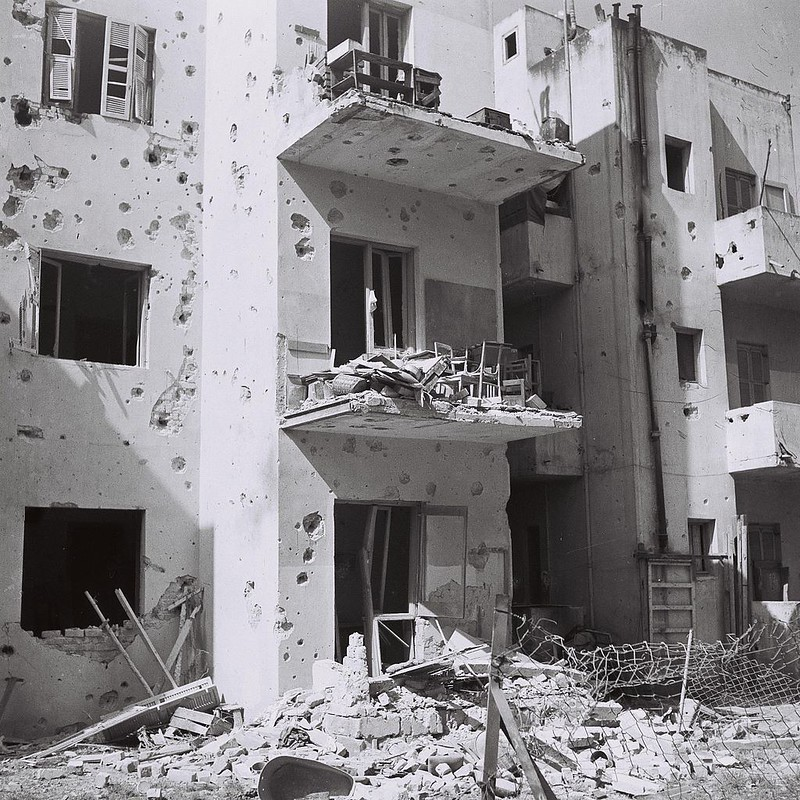Apartment houses damaged during the Egyptian air attack on Tel Aviv, 1948 Arab–Israeli War